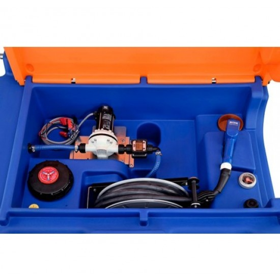 Rezervor mobil Blue-Mobil Easy 980 l PREMIUM cu electropompa 230 V, ochi pentru macara, capac cu balamale, contor K24, rola de furtun de 8 m, contine indicator de nivel